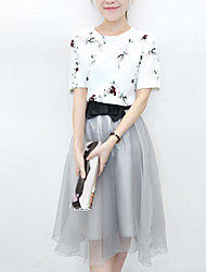 Women's Casual / Day Patchwork Skater Dress , Round Neck Mini Polyester