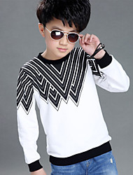 Boy's Cotton Spring/Fall Fashion Inverted Triangle Pattern Thread Convergent Round Collar Tee