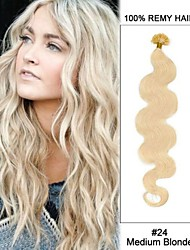 20'' #24 Medium Blonde Body Wave Nail Tip U Tip 100% Remy Hair Keratin Hair Extensions-100 strands,0.5g/ 0.8g/ 1g/strand