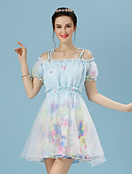 Women's Going out Cute A Line / Chiffon Dress,Floral Boat Neck Above Knee Short Sleeve Multi-color Others Summer