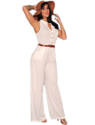 Women's Solid White Jumpsuits , Holiday Deep V Show Thin Neck Sleeveless