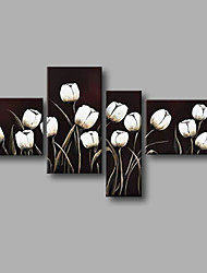 """Ready to Hang Stretched Hand-painted Oil Painting 64""""x40"""" Canvas Wall Art Modern Flowers Black White Tulips"""