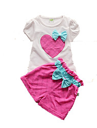 Girl's Green / Red / Yellow Clothing Set,Bow Cotton Summer