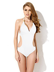 New Sexy White One-piece Swimwear with Cut-out Side in Low Price