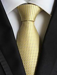 Gravata de gravata de homens com tecidos jacquard dourados e dourados