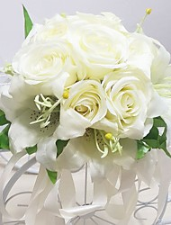 "Wedding Flowers Round Roses / Lilies Bouquets Wedding / Party/ Evening Yellow / Pink / White / Purple Satin 9.84""(Approx.25cm)"