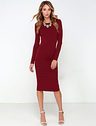 Women's Sexy Solid Bodycon Dress , Round Neck Knee-length Cotton