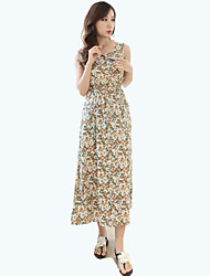 Women's Beach Floral Swing Dress , Round Neck Midi Polyester