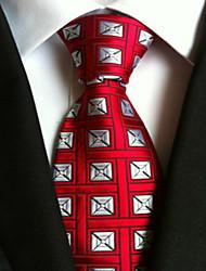 New Red Silver Plaid Classic Formal Men's Tie Necktie Wedding Party Gift TIE0059