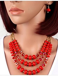 Crystal glass acrylic Beaded Necklace Earrings Set
