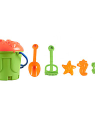 6-Pieces Beach Sand Bucket Toys Set with Bucket, Sand Shovel, Sand Rake and 3 Models