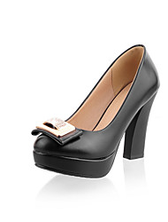 Women's Shoes Leatherette Chunky Heel Heels Heels Wedding / Office & Career / Party & Evening / Dress Black / White