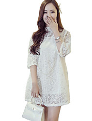 Women's Casual / Day Solid Loose Dress , Crew Neck Mini Polyester