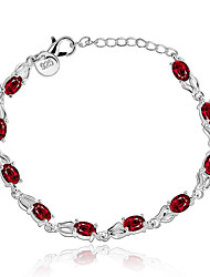 Lureme® Fashion Elegant Jewelry Geometry with Ruby Silver Plated Charm Bracelets for Women