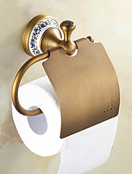 Ceramic Toilet Paper Holder , Traditional Antique Copper Wall Mounted