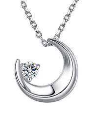 Lureme®  Korean Fashion  Crystal 925  Sterling Silver  Moon Pendant Necklace