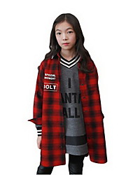 Girl's Red Shirt,Check Cotton Spring / Fall