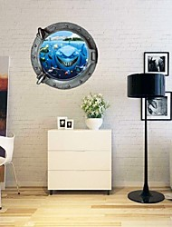 Creative 3D Cartoon Undersea World Animals Bedroom Kids Room Living Room Wall Sticker Waterproof Removable Green