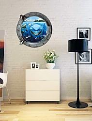 Creative 3D Cartoon Undersea World Animals Bedroom Kids Room Living Room Wall Sticker Waterproof Removable Green