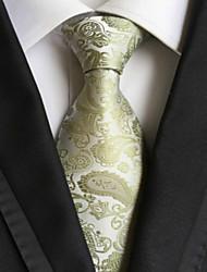 Cravatta verde legata da jacquard paisley verde