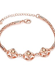 Simple Grace Women's Champagne Cubic Zirconia Rose Gold Plated Brass Chain & Link Bracelet(Rose Gold)(1Pc)