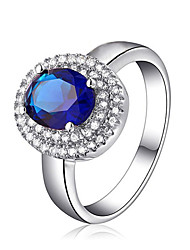 T&C Women's Classic Blue Zircon Crystal Ring Platinum White Gold Plated Rings Jewelry