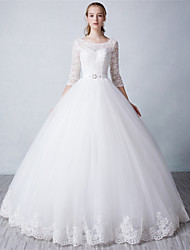 Ball Gown Wedding Dress Floor-length Scoop Tulle with Lace / Pearl