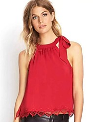 Women's Solid Red Tanks,Round Neck Sleeveless