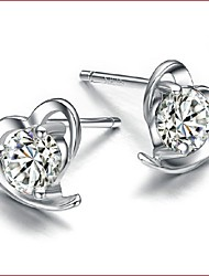 925 Silver Sterling Silver Jewelry Earrings Sample Lovely Heart Stud Earring 1Pair