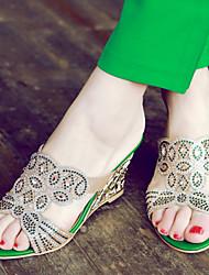 Women's Shoes  Heel Wedges / Heels / Peep Toe Sandals / Heels / Clogs & Mules Outdoor / Dress / Casual Green / Gold