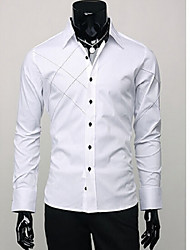 Shirts Tuxedo (Wing Collar) Long Sleeve Cotton Solid Black / White