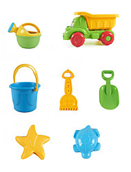 7-Pieces Beach Sand Toys Set with Truck, Bucket, Water Pot, Sand Shovel, Sand Rake and 2 Models
