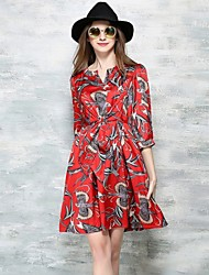 Women's Vintage V Neck A Line Print Dress
