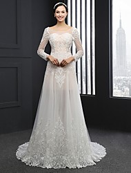 Sheath / Column Wedding Dress Chapel Train Scoop Lace / Tulle with Lace