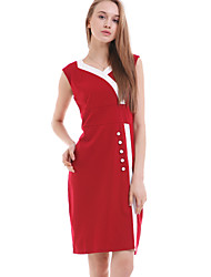Women's Vintage V-Neck BCotton Sleeveless Midi Dress with Buttons