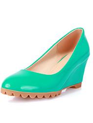 Women's Shoes Leatherette Wedge Heel Wedges / Round Toe Heels Wedding / Dress Black / Blue / White / Almond / Orange