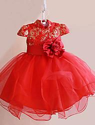 Menina de Vestido Verão Poliéster Vermelho