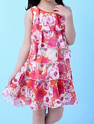 Girl's Red / White / Yellow Dress,Floral Polyester Summer / Spring