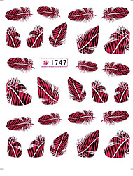 4 Sheets Fashion Nail Tips Style Feather Nail Art Water Transfer Sticker Decal Sticker DIY Nail Art Decoration for Nails