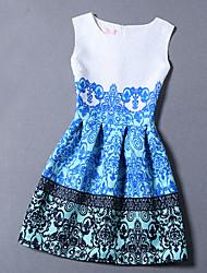 De las mujeres Línea A Vestido Chic de Calle Jacquard Mini Escote Redondo Algodón / Poliéster