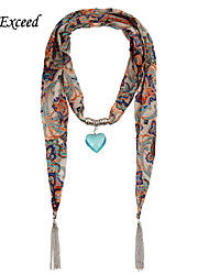 D Exceed intage Ethnic Print Chiffon Spring Scarf Necklaces For Women Tassel Jewelry Scarves With Blue Heart Pendant