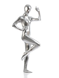 Shiny Zentai Suits Morphsuit Ninja Zentai Cosplay Costumes Silver Solid Leotard/Onesie Zentai Spandex Shiny Metallic UnisexHalloween
