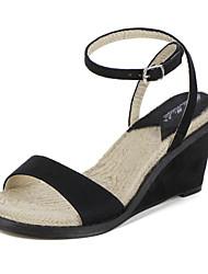 Calçados Femininos-Sandálias-Anabela / Bico Aberto-Anabela-Preto-Camurça-Casual