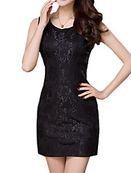 Summer Plus Size Women's Elegant Jacquard Round Neck Sleeveless Work Casual Mini Little Black Dress