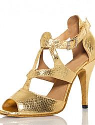 Chaussures de danse(Or) -Personnalisables-Talon Personnalisé-Cuir Similicuir-Latine Salsa