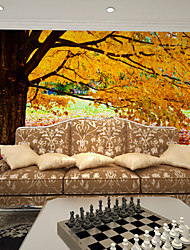 JAMMORY Art Deco Wallpaper Contemporary Wall Covering,Canvas Paper Golden Cloth Wallpaper Leaf Tree Wallpaper