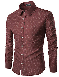 Men's Plaids Casual / Sport Shirt,Cotton Long Sleeve Blue / Red