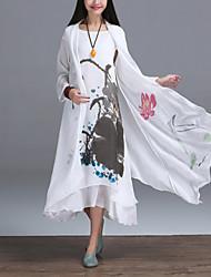 Frauenweinlese-Blumen Strickjacke, Rundhalsausschnitt asymmetrische Baumwolle / Leinen