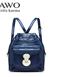 NAWO Women Cowhide Backpack Blue-N652041