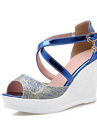 Women's Shoes Leatherette Wedge Heel Wedges / Peep Toe Sandals Casual Blue / Silver / Gold